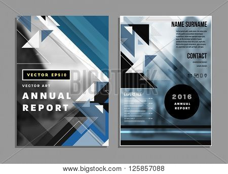 Annual Report Templates Set with Abstract Backgrounds. A4 Design Size for Presentations, Book Cover Layouts, Posters, Flyers, Brochures