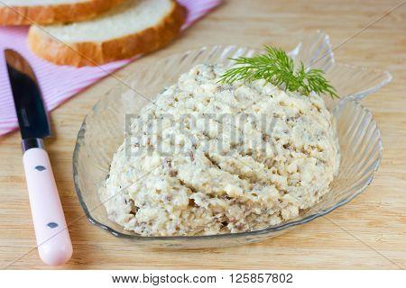 Fresh homemade herring creamy pate forshmak traditional Jewish cuisine