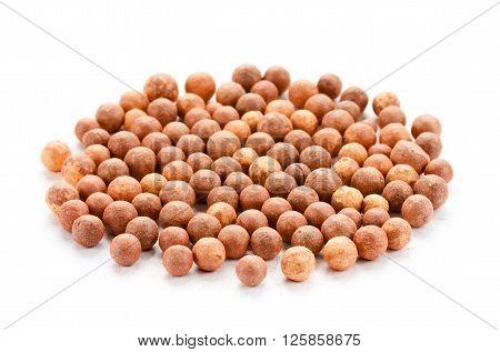 Cosmetics rouge balls close up isolated on white background
