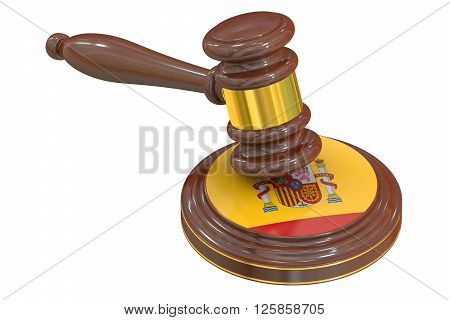Wooden Gavel with Spanish Flag 3D rendering
