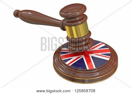 Wooden Gavel with United Kingdom Flag 3D rendering