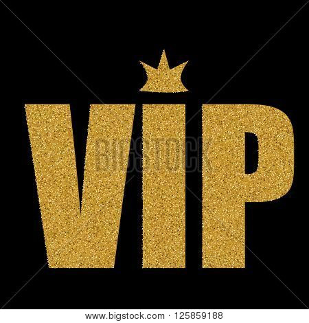 VIP status card with golden letters and crown on black background