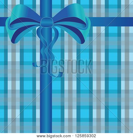 Blue silky bow with wavy ribbons on abstract plaid background. Design element for gift cards presents postcards boxes presentations special offers and etc
