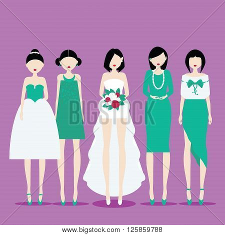 Fiancee in the dress with train and her bridesmaids. Vector illustration in flat style. Ediatable layered eps 10. Place for your text and design
