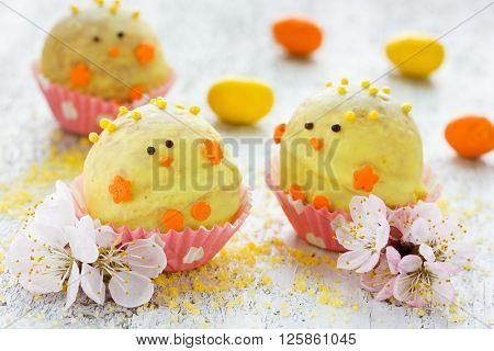 Sweet and tasty Easter chick candy for children party selective focus