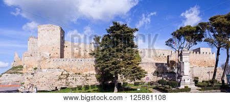 ENNA, ITALY - MARCH, 29: View of the Castello di Lombardia - Lombardy Castle on March 29, 2016 Enna