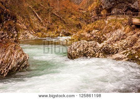The famous Vintgar gorge Canyon with wooden pats