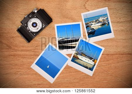 Vintage camera and four photos with the image of yachts