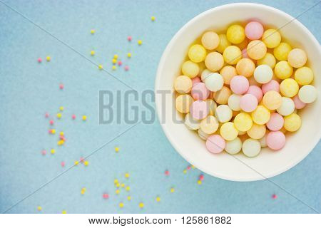 Sweet yummy bubble gum assortment beautiful background blank space for text top view selective focus