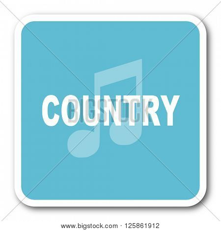 music country blue square internet flat design icon