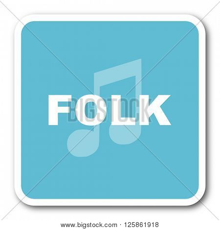 folk music blue square internet flat design icon