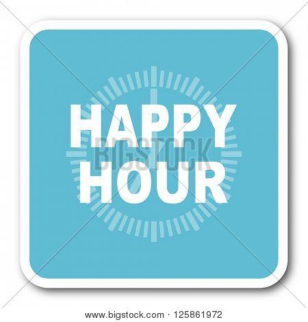 happy hour blue square internet flat design icon