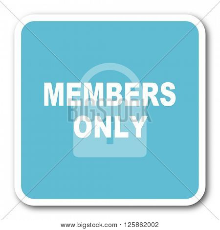 members only blue square internet flat design icon