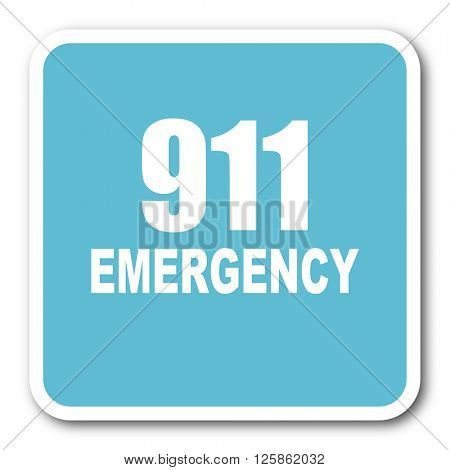 number emergency 911 blue square internet flat design icon