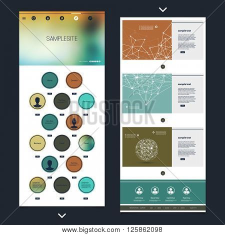 One Page Website Template with Blurred Header Design and Network Design Contents