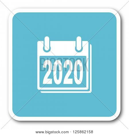 new year 2020 blue square internet flat design icon