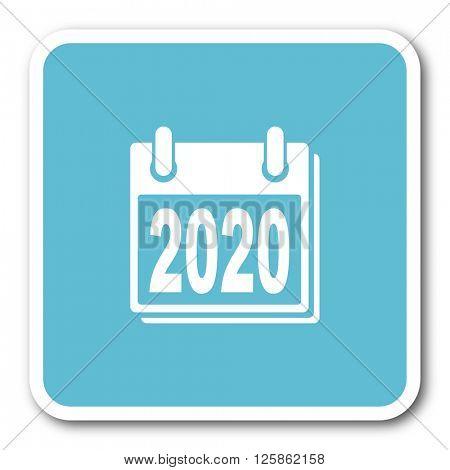 new year 2020 blue square internet flat design icon