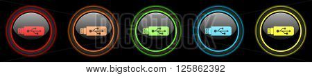 usb colored web icons set on black background