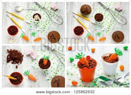 Recipe step by step collage for cooking cute Easter dessert treats for children
