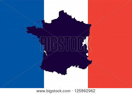 Official national flag of France and the country's geographical map
