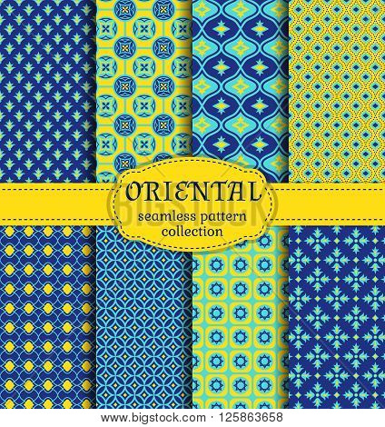 Eastern seamless patterns. Set in blue indigo and yellow colors. Colorful collection of stylized oriental ornaments. Vector abstract backgrounds.