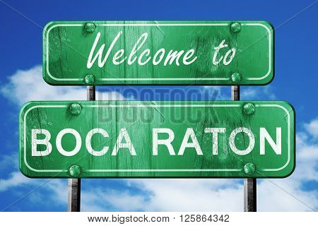 Welcome to boca raton green road sign