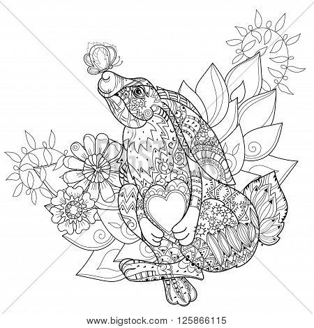 Vector cute fairy rabbit in flowers with heart  and  butterfly.Vector line isolated hand drawn illustration.Sketch for postcard, print or coloring adult book.Boho zentangle style doodle.