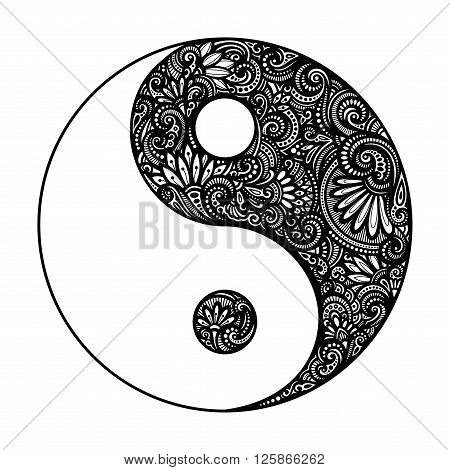 Vector Ornate Yin Yang Symbol. Beautiful Decorative Emblem. Black and White Illustration