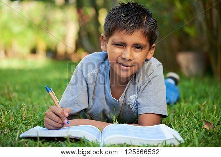Small Boy Studing