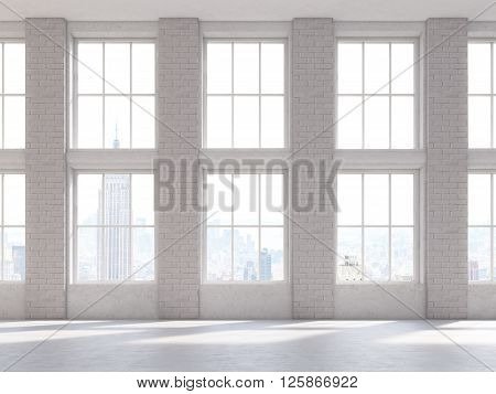 Frontviewof brick interior with large windows. 3D Rendering