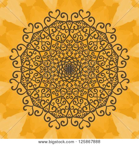 Print Mandala background. Vintage decorative element on seamless texture. Hand drawn background. Islamic, Arabic, Indian, Asian, Ottoman motifs.