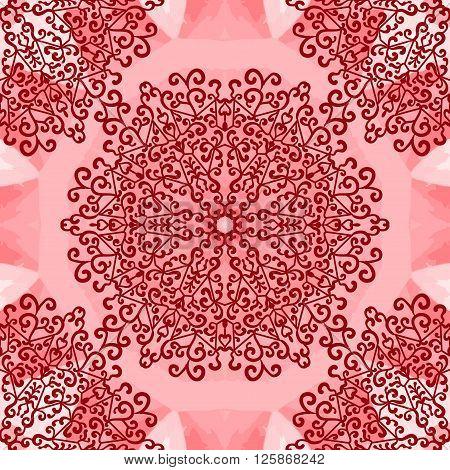 Mandala Print on Red Seamless Texture. Vintage decorative element endless hand drawn background. Islamic, Arabic, Indian, Turkish, Pakistan, Chinese, Asian, Moroccan, Ottoman motifs.Oriental vector pattern illustration.
