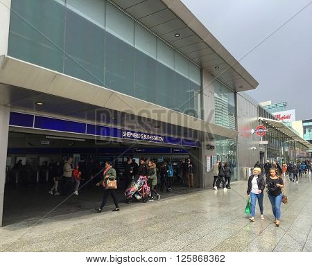 LONDON - APRIL 15: Shepherds Bush Underground station and Westfield shopping centre on April 15, 2016 in Shepherds Bush, London, UK.