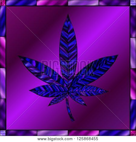 Stunning cannabis leaf in stained-glass style in a blue and purple color scheme.
