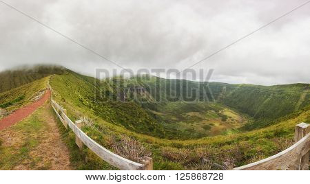 Panorama of the volcanic crater on the island of Faial, Azores