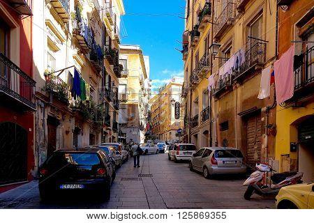 Cagliari, Italy, November 18, 2015: In the streets of Cagliari, Sardinia, Italy.