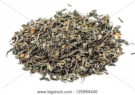 A Bunch Of Dry Green Unpressed Tea With Flavors