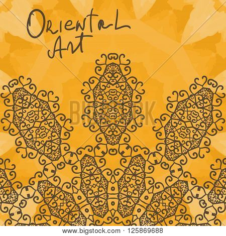 Oriental Art Print. Yoga Ornament, kaleidoscopic floral  yantra. Seamless ornament lace. Oriental vector pattern. Islamic, Arabic, Indian, Turkish, Pakistan, Chinese, Asian, Moroccan, Ottoman motifs. Mandala outlined.