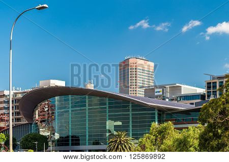 Adelaide Australia - January 3 2016: Adelaide Convention Centre and Westpak building view from the river Torrens bank on a bright day