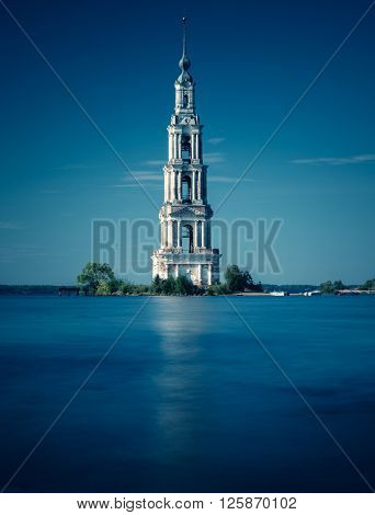 Kalyazin Bell Tower in Russia. Long exposure and blue tint effects.