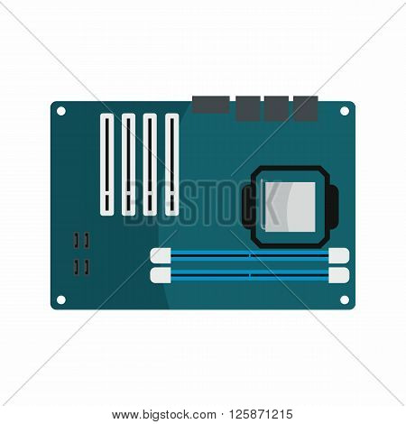 Flat hardware motherboard icon for repair service design. Vector illustration