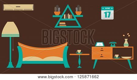 Vector Illustration featuring flat living room with modern decoration. here table, sofa, lamp, ac also include modern element.
