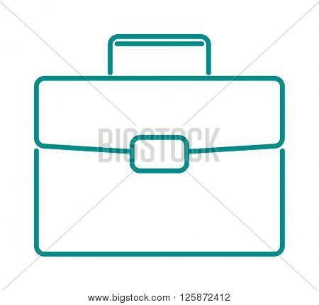 Briefcase suitcase thin icon luggage business bag line design vector.