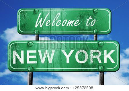 Welcome to new york green road sign