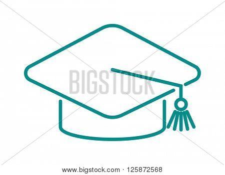 Graduation cap diploma web outline hat icon vector illustration.