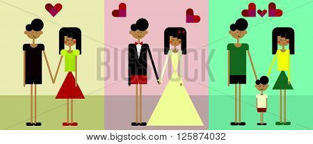 Illustration of a couple from dating, getting married and have a child
