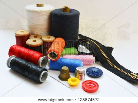 equipment for sewing items seamstress, hobby,needles and threads