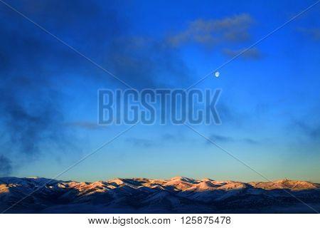 Mountain range winter moonlight landscape full moon
