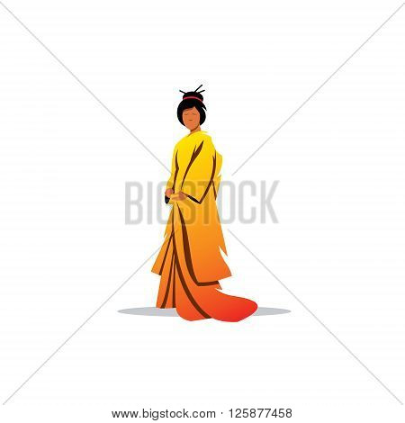 Geisha in traditional oriental dress on a white background