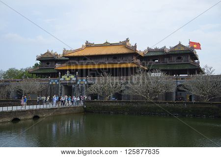 HUE, VIETNAM - JANUARY 07, 2016: The main gate of the forbidden Purple city. View from the inner side. Historical landmark of the city Hue, Vietnam
